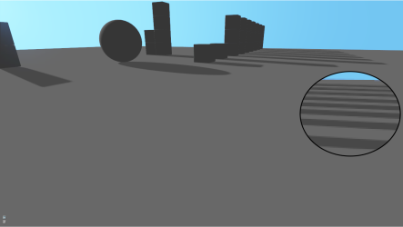 Using anisotropic filtering (x16) improve farther shadows a little bit.